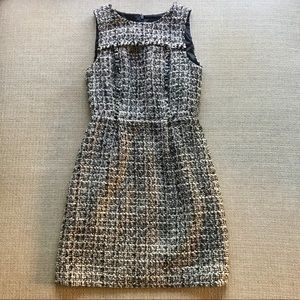 J Crew Noir Tweed sleeveless dress B & W silver